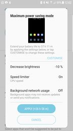 Maximum power saving mode (Galaxy S6 edge)