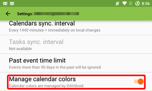 DAVdroid setting: Manage calendar colors